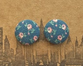 Fabric Covered Button Earrings / Blue and Pink / WHOLESALE Jewelry / Sensitive Ears / Bridal Shower Favors / Stud Earrings