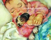 SWEET Baby Picture, Baby Girl and Dog Take Nap Together, Nursery Print, Baby Shower Gift Restored Antique Art  #244