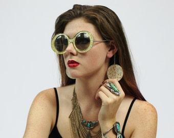 1960s Mod Jello Earring Drop Oversized Ivory Gold Plastic Sunglasses