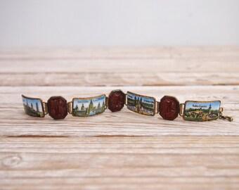 1920s Bracelet - Vintage Late 20s Copper Enamel Molded Glass Bracelet - Barcelona Bracelet