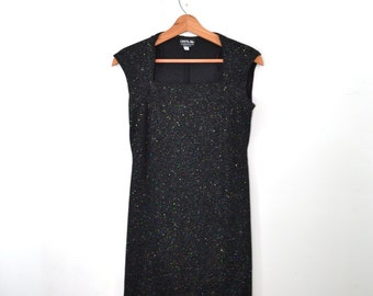 Vintage Dress Black Dress Short Dress Black Sparkle Dress Evening Wear Black Tank Dress 80s Dress Bandage Dress Size 8
