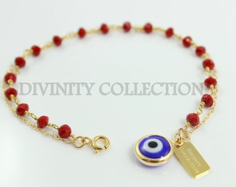 Evil Eye Bracelet Gold Filled Blue Murano Glass Kabbalah Charm Pendant Red Coral Crystal Bracelets Protection High Quality Jewelry Gift