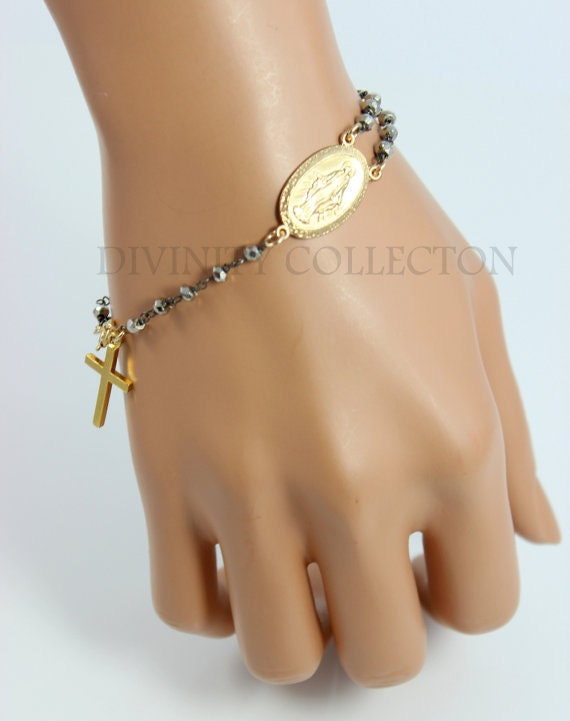 rosary bracelet gold filled pyrite black two tone miraculous