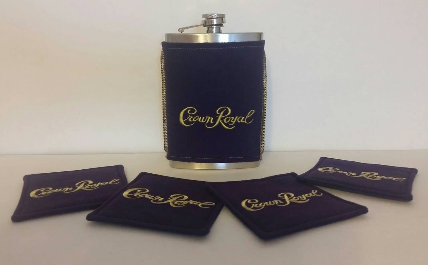 Crown Royal Gift Set Includes 8 Oz. Stainless Steel Flask