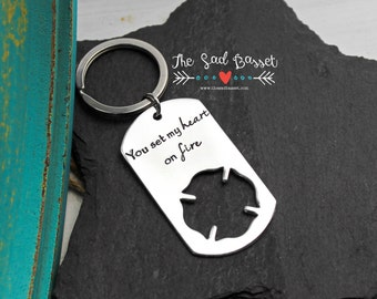 Firefighter Keychain | You Set My Heart on Fire | Fireman Keychain | Gifts for Him | Personalized Accessory | Maltese Cross | Fire Wife