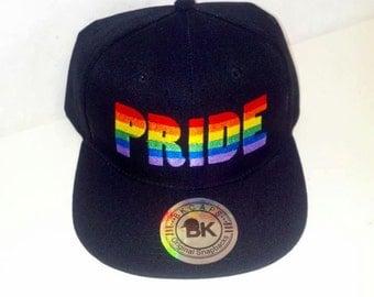 Pride Rainbow Black Snapback Hat Flat Bill Snap back Adjustable LGBT