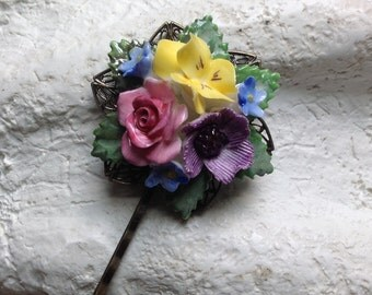 PRICED TO SELL Vintage British Porcelain Pink Rose Yellow Violet Purple Flower Floral Bridal Bouquet Large Hair Bobby Pin - Etsy andersonhs