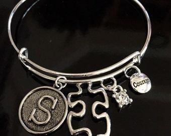 Autism Awareness Bracelet - Puzzle piece charm on adjustable silver bracelet - Asperger's Charm - Initial / Personlized Charm