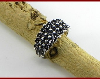 Sardinian Ring Traditional in Silver 800 - made in italy