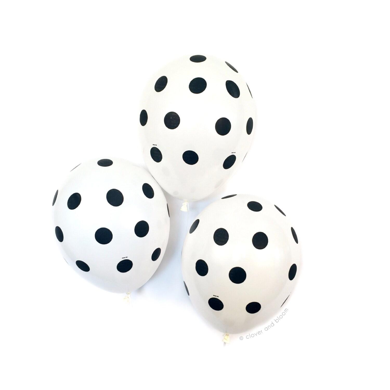 Black white polka dot balloons dot balloons birthday for Black and white polka dot decorations