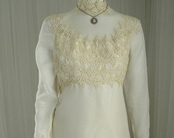 Vintage High Neckline William Cahill Wedding Gown in Double Chiffon and Satin with Lace Trimwork
