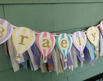Hot Air Balloon NAME banner with fabric backdrop photo prop