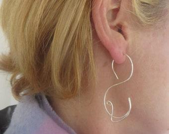Sterling Silver Hoop Earrings, Silver Swirl Earrings, Spirals, Wire Wrapped, Women's, Jewellery