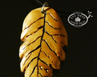 Organic Hand Carved Wooden Leaf  Pendant