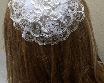 White Lace Doily, Catholic Head Covering, Chapel Hat, Lace Headcovering
