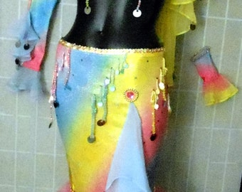 COLORFUL, UNIQUE, QUIRKY Pro Belly Dance Bra/Skirt + Headband, Gauntlets & Veil—Petite