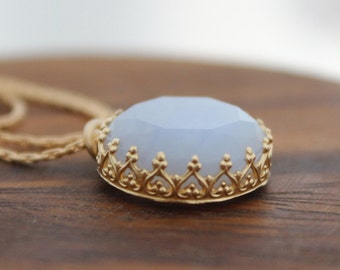 Chalcedony necklace - Gold necklace set with pale blue chalcedony gemstone, Pastel blue necklace