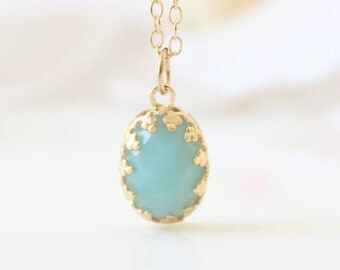 Amazonite necklace - Gold necklace with mint gemstone pendant, gemstone jewelry, mint necklace