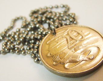 1980 Australian Coin Necklace with Platypus Necklace with Stainless Steel Ball Chain - Double Sided