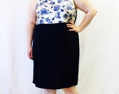 Plus Size - Vintage Navy Floral Color Block Tank Sheath Dress (Size 20/22)