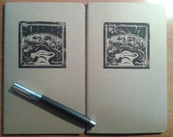 Kraft squared moleskine journals (large) with brain linocut print LIMITED QUANTITY