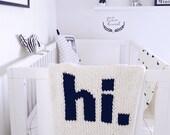 Baby Blanket hi Hand Knit Crib Size