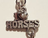 New Antique Silver Color Alloy I Love Horses Charm Zipper Pull Purse Clip