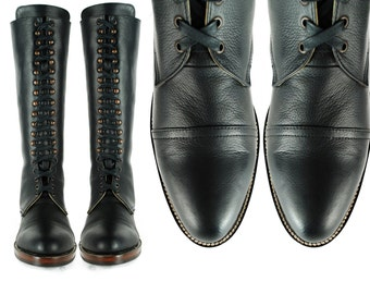 POE Black Leather LINEMAN Pebbled Leather COMBAT  Cap Toe Goodyear Welted Boots. (All Sizes)