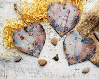 Nautical wooden heart ornaments Valentines day vintage retro rustic blue off white wedding favors bridal shower lighthouse sea beach wedding