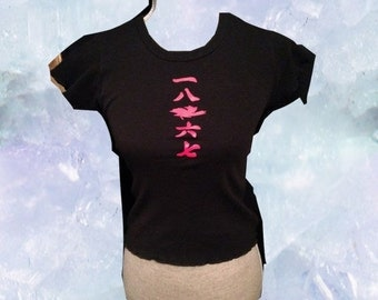 90s Chinese Writing Black Shirt With Ruffles on Bottom and Sleeves