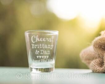 24 Custom Etched Wedding Favors Shot Glasses Gifts