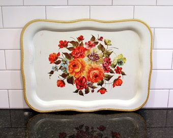 Bouquet Tray... Large Vintage Metal Serving Tray - Colorful Floral Design, Roses, White and Gold; Chippendale Style
