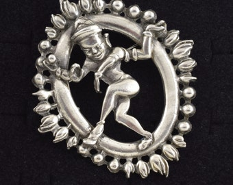 Large Vintage Vishnu Brooch Hindu God ~ Lot 9599