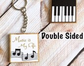 Musician Keychain, Treble Clef, Piano Keys, Teacher Gift, Music Lover Gifts Under 10