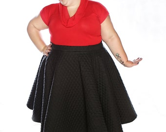 Black Quilted Plus Size Circle Skirt Custom Size Retro Pin Up Rockabilly