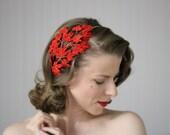 "Red Velvet Fascinator, Fall Leaf Headband, 1950s Hair Accessory, Christmas Hairpiece, Vintage Leaves Headpiece, Holiday - ""Crimson Ivy"""