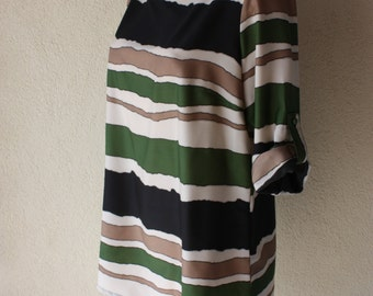 """Silky blouse artsy stripe top tab sleeves long loose fit European designer  OLiver chest 42 """" size large"""