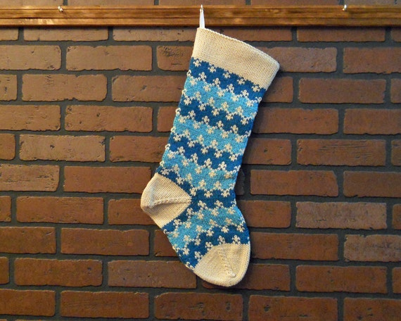 Knit Pattern For Striped Christmas Stocking : Striped Christmas Stocking Hand Knit in Teal by CustomBearHugs