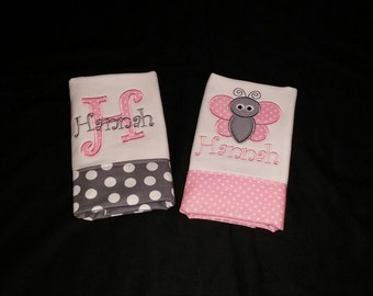 Set of 2 Girls Personalized Burp Cloth