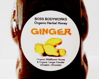 Organic GINGER Honey Herbal Infused Gourmet Raw Wildflower Honey - 12oz