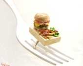 Cheeseburger Ring, French Fries Ring, Miniature Food Jewelry, Hamburger Ring, Fast Food Jewelry, Mini Food Jewelry,Foodie gift,Teenager gift
