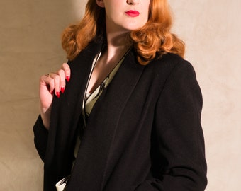 Women's Wool Coat // Black 1940s Jacket // Vintage Style Jacket // Handmade Winter Coat