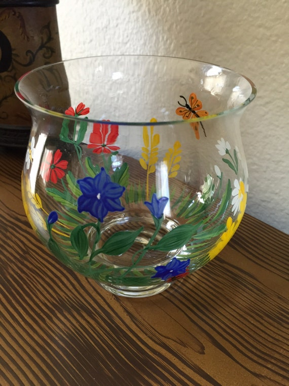 Hand painted glass votive holder colorful candle holder for Painted glass fish