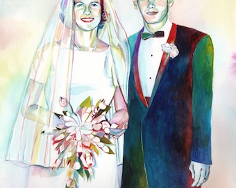SPECIAL 50th WEDDING ANNIVERSARY gift for parents, Couple watercolor portrait, 25th anniversary, custom gift, for in laws, couple portrait