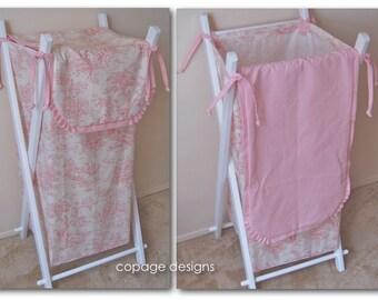 Central Park Toile Baby Nursery Laundry Hamper Bag / Colors: Sage, Black, Blue, Pink, Horizon / Custom Made