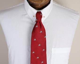 1980s Era Flying Ducks on Red Background Preppy Kitschy Necktie Tie