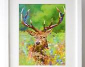 001.Geometric Deer Digital Art Print : Deer Wall Art / Deer Home Decor / Printable Deer Art - INSTANT DOWNLOAD