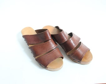 Vintage 70s Leather Clog Sandal