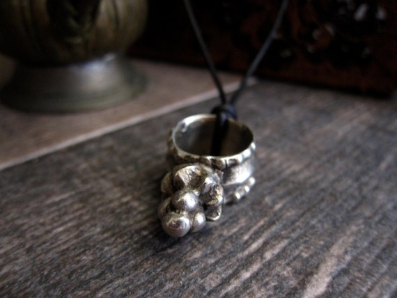 Men's African Silver Ring Necklace