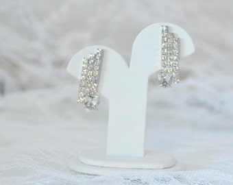 Gorgeous Clear Rhinestone Clip on Earrings